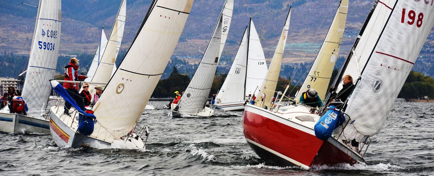 Women's Sailing Website cover photo of sailboats racing on Okanagan Lake